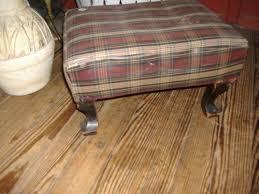 plaid upholstered ottoman stool vintage footstool antique what u0027s