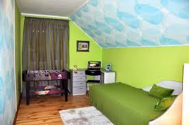 Corner Kids Desk by Minimalist Attic Room For Kids With Blue Pattern Wallpaper Also