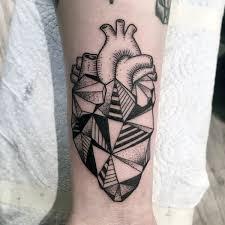 50 geometric heart tattoo designs for men symmetrical ideas