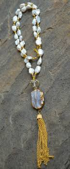 long crystal tassel necklace images Freshwater pearls crystals and gold beads with druzy pendant and jpg