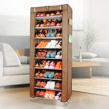 saving small wardrobe spaces with 9 tiers shoe rack with brown