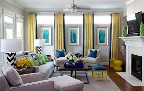 Gray And Yellow Accent Chair Yellow And Blue Interiors Living Rooms Bedrooms Kitchens