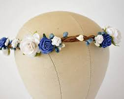white and blue headband blue flower crown etsy