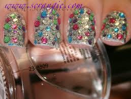 scrangie testing out the kiss nail dress jeweled nail art strips