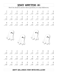 halloween numbers printable scary addition with single digit numbers a