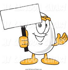 clip art of a happy egg character holding a blank sign by