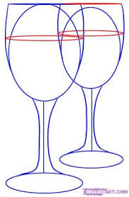 how to draw a bottle of wine and glass of wine easy step by step