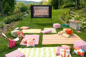backyard movie night home outdoor decoration