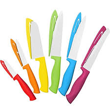 colored kitchen knives amazon com 12 colorful steel knife set 6 steel kitchen