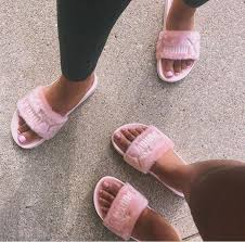 pink slides fenty by rihanna leadcat fenty faux fur slide