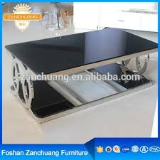 Black Glass Coffee Table Ghost Stainless Steel Legs Black Glass Coffee Centre Table With