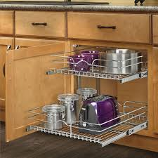 2 tier cabinet organizer rev a shelf 15 inch pullout 2 tier wire basket cookware cabinet