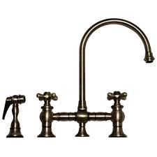 Pewter Kitchen Faucets by Whitehaus Whkbcr3 9101 Deck Mount Bridge Kitchen Faucet With Side