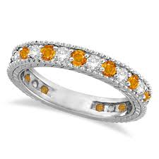 citrine engagement rings diamond citrine eternity ring band 14k white gold 1 08ct allurez