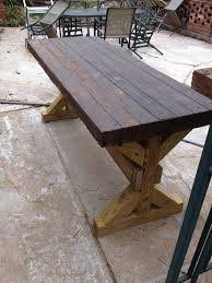 Concrete Patio Tables And Benches Brown Wood Concrete Patio Table