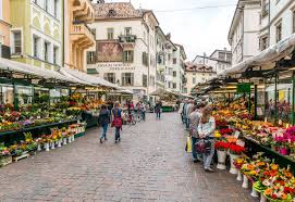 historic streets and square in bolzano italy