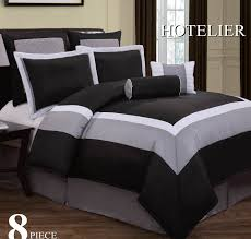 Grey Bedding Sets King 8pc Hotel Design Black White Grey Comforter Set King