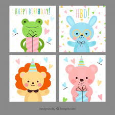childish birthday cards with happy animals vector free download