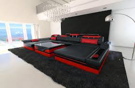 couch u form big sectional sofa monza u shaped with led lights black red ebay