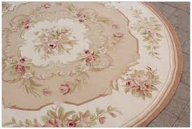 6x6 round shabby french chic aubusson rug light pink ivory cream