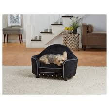 enchanted home pet ultra plush headboard pet bed black target