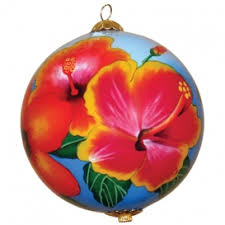 hawaiian hibiscus ornament painted ornaments