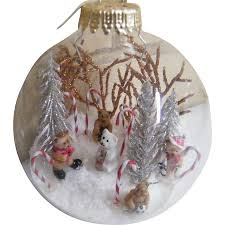 signed folk art clear glass christmas ornament ball winter from