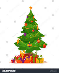christmas tree decorated vector illustration star stock vector
