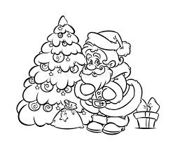 christmas santa claus tree gift coloring stock illustration