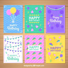 Birthday Cards Set Of Colorful Birthday Cards In Flat Design Vector Free Download