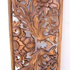 relief garuda fenix carved wood panel home decoration from bali