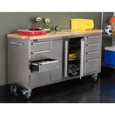 stainless steel workbench cabinets trinity 6 ft stainless steel corner rolling workbench with storage