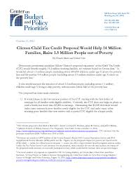 clinton child tax credit proposal would help 14 million families
