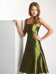 low price v neck olive green tea length holiday dresses for