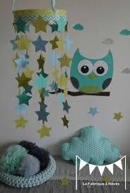 chambre enfant vert mobile étoiles turquoise vert anis gris décoration chambre enfant
