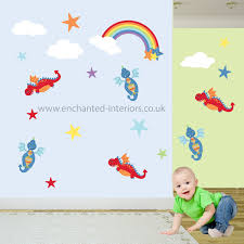 dragon decal rainbow nursery wall stickers baby boys decor dragon decal rainbow nursery wall stickers baby boys decor toddler gift fluffy white clouds kids bedroom mural twinkling stars