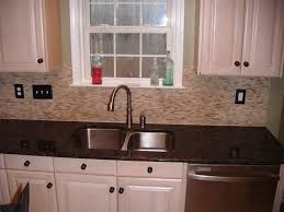 Marble Kitchen Backsplash Kitchen Beige Mosaic Strip Backsplash Tile And Marble Countertop
