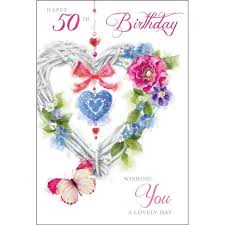 50th Birthday Cards For Wicker Heart And Butterflies 50th Birthday Card Karenza Paperie
