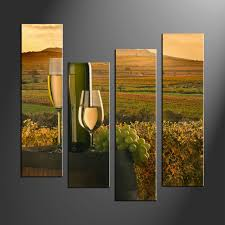 Wine Home Decor 4 Piece Green Canvas Print Wine Fruit Wall Art