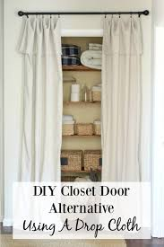 closet door alternative a drop cloth cut in half folded over