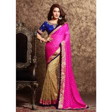 rani pink colour beige and rani pink color saree poz 2601