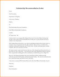Recommendation Letters Templates by Recommendation Letter For Scholarship Scholarship Recommendation