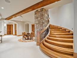 contemporary basement with exposed beam u0026 wood stair treads