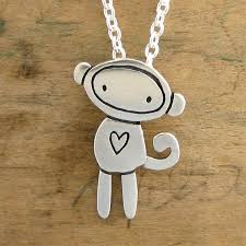 handmade silver charm necklace images Sterling silver sock monkey charm necklace jpg