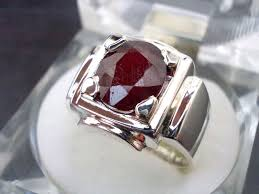 men ring oval ruby yaqoot men ring pigeon blood sterling silver reza