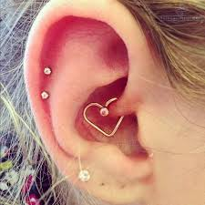 heart cartilage right ear cartilage and heart piercing