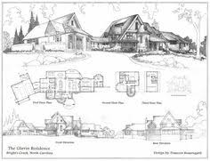 English Tudor Floor Plans Watercolor Perspective Drawing Front Elevation And First Floor
