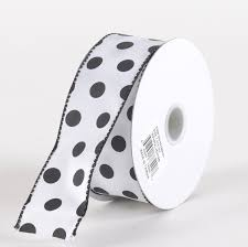 black and white polka dot ribbon satin polka dot ribbon wired white with black dots w 1 1 2 inch