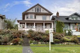 Covered Porch Victorian Large House With Large Covered Porch For Sale Stock