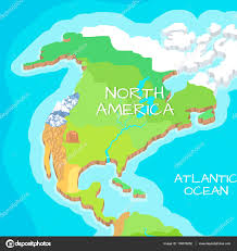 North America Physical Map North America Mainland Vector Cartoon Relief Map U2014 Stock Vector